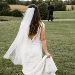 Hannah Lime Bridal Alterations by Janay A lace gown low back sheath veil