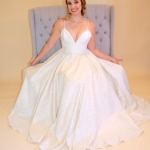 Real Bride in her custom bridal alterations kansas city designer Janay A Mission Kansas darling eco bridal