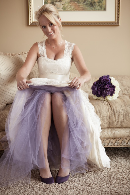 Stephanie's Handmade Lace Gown with Purple Tulle