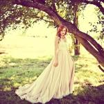Tina's Flowey Orange and Ivory gown