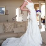 Stephanie's handmade lace fit-to-flair wedding gown