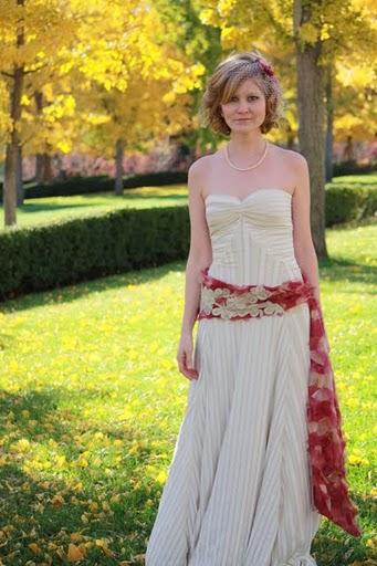 jessicas fun striped wedding dress and kimono belt