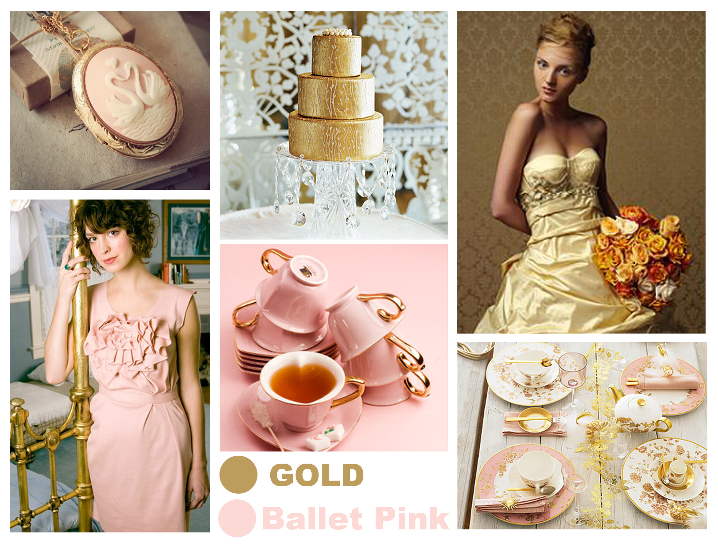 Color inspiration gold and ballet pink janay a eco bridal for Pink and gold wedding dress
