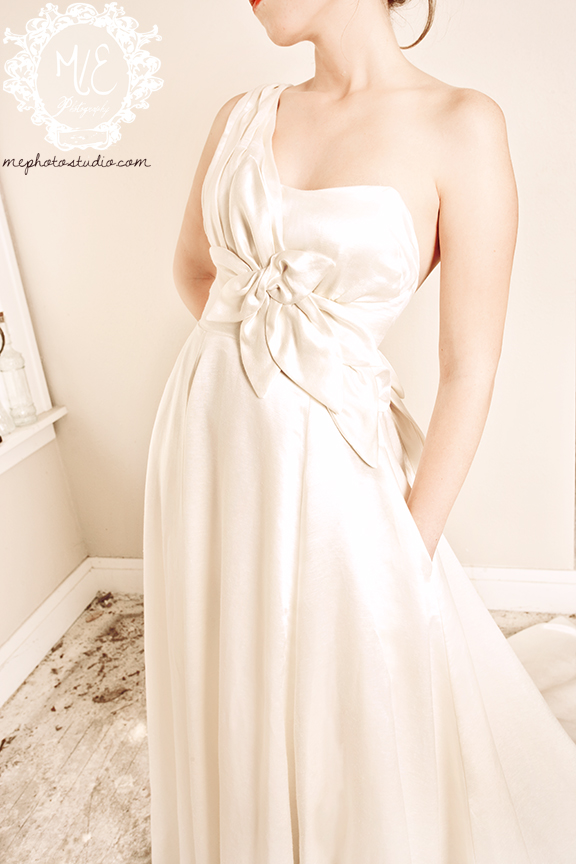 Aster Gown detail front one shoulder aline wedding dress with pockets