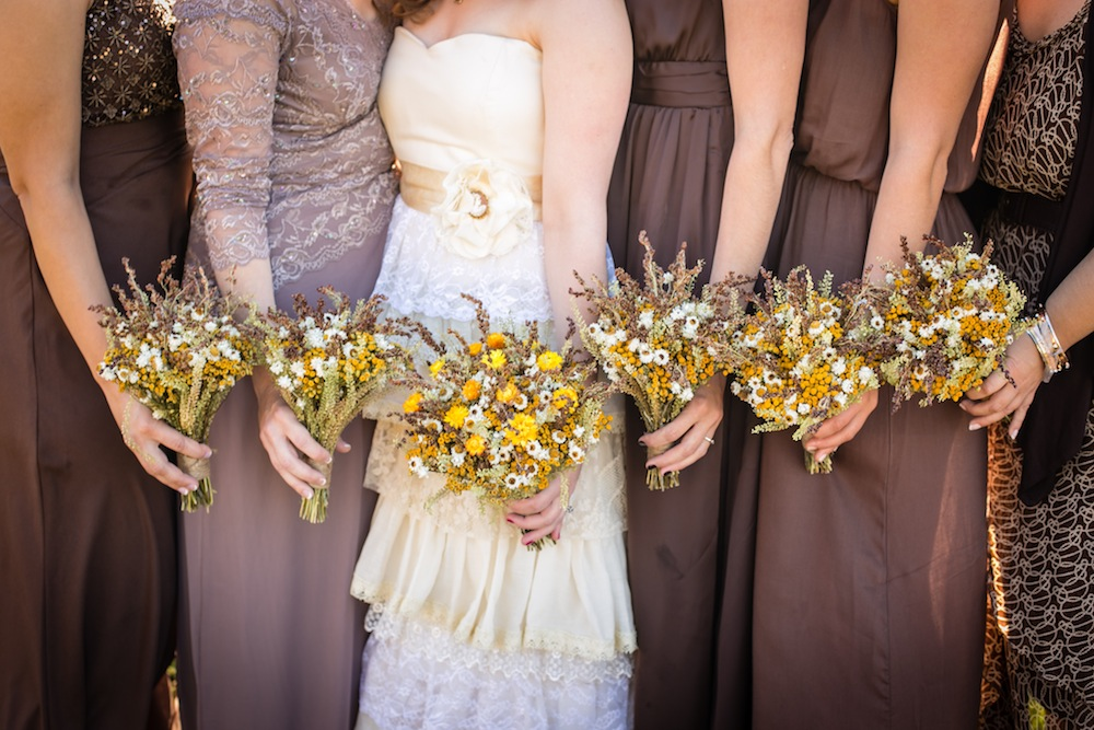 bridesmaids group browns mismatches rustic wedding
