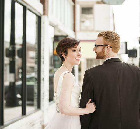 Couple wedding photography, dress by Janay A