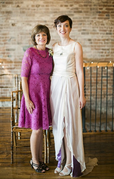 Lindsey and Mom in fuscia mother of bride dress