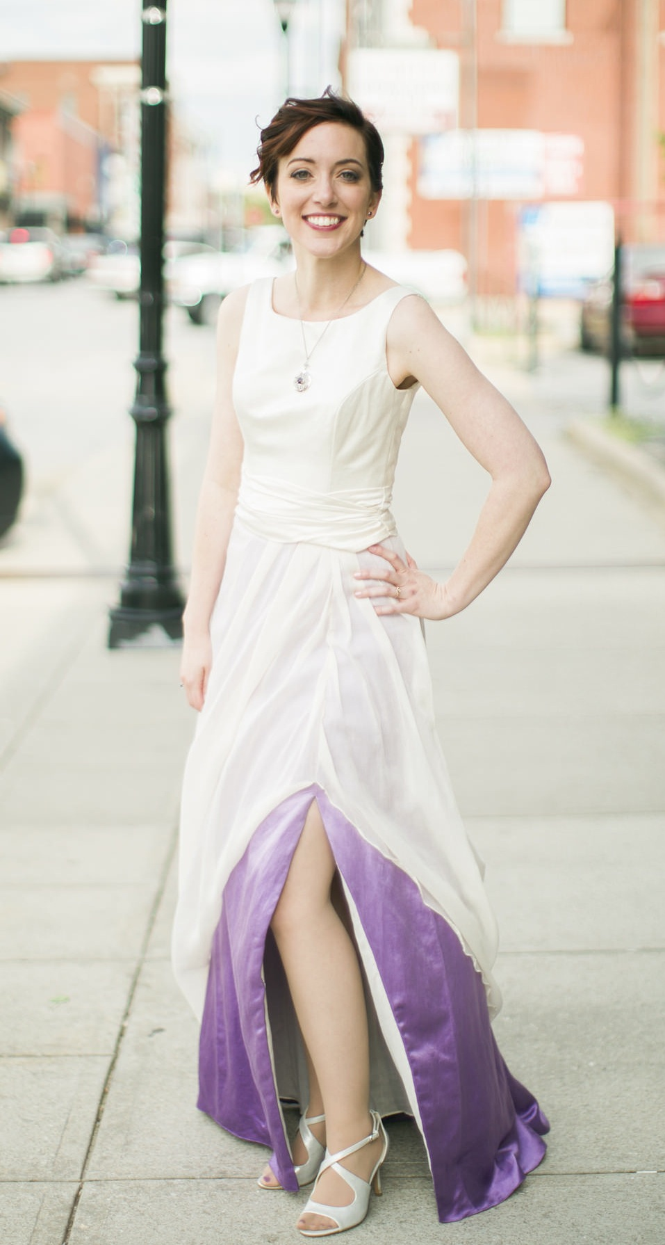 Lindsey\'s Custom Gown with Purple – Janay A Eco Bridal