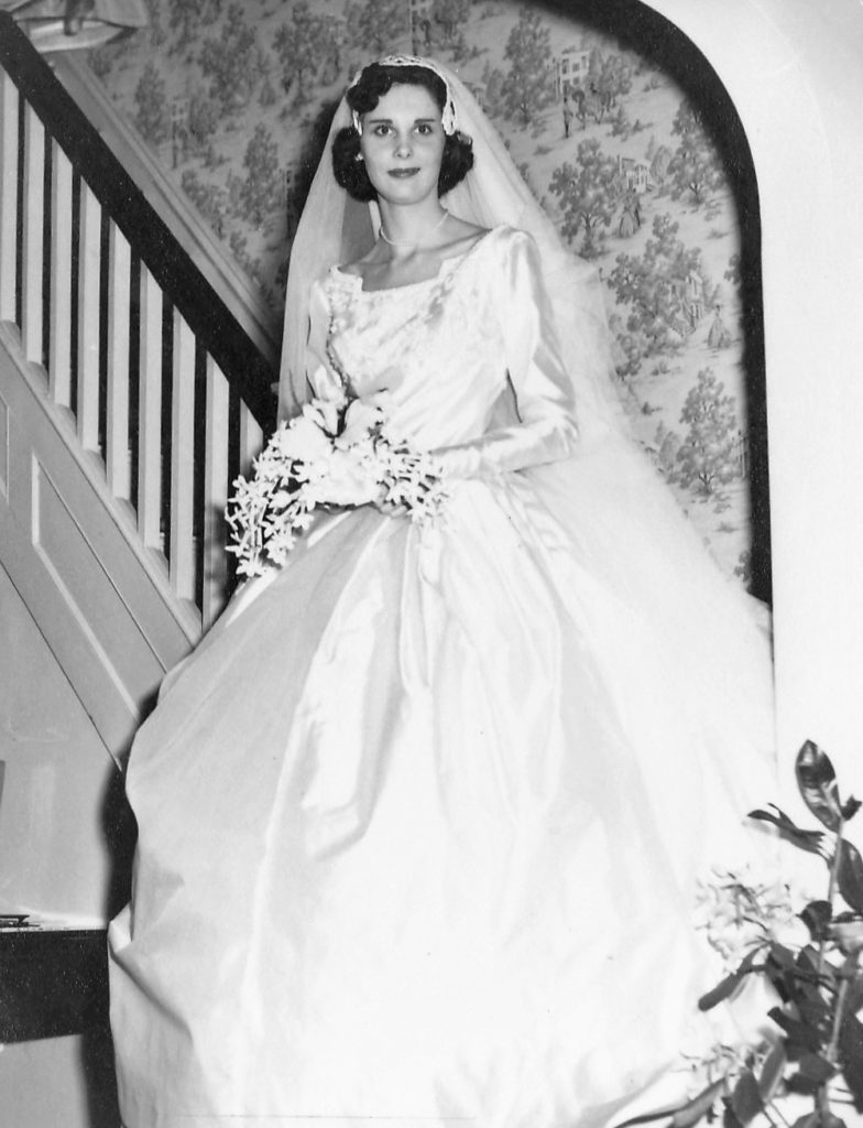 Sarah's grandmother 1955 vintage silk wedding dress