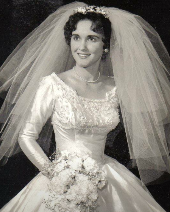 Sarah's great Aunt in 1955 wedding dress, vintage wedding gown, silk