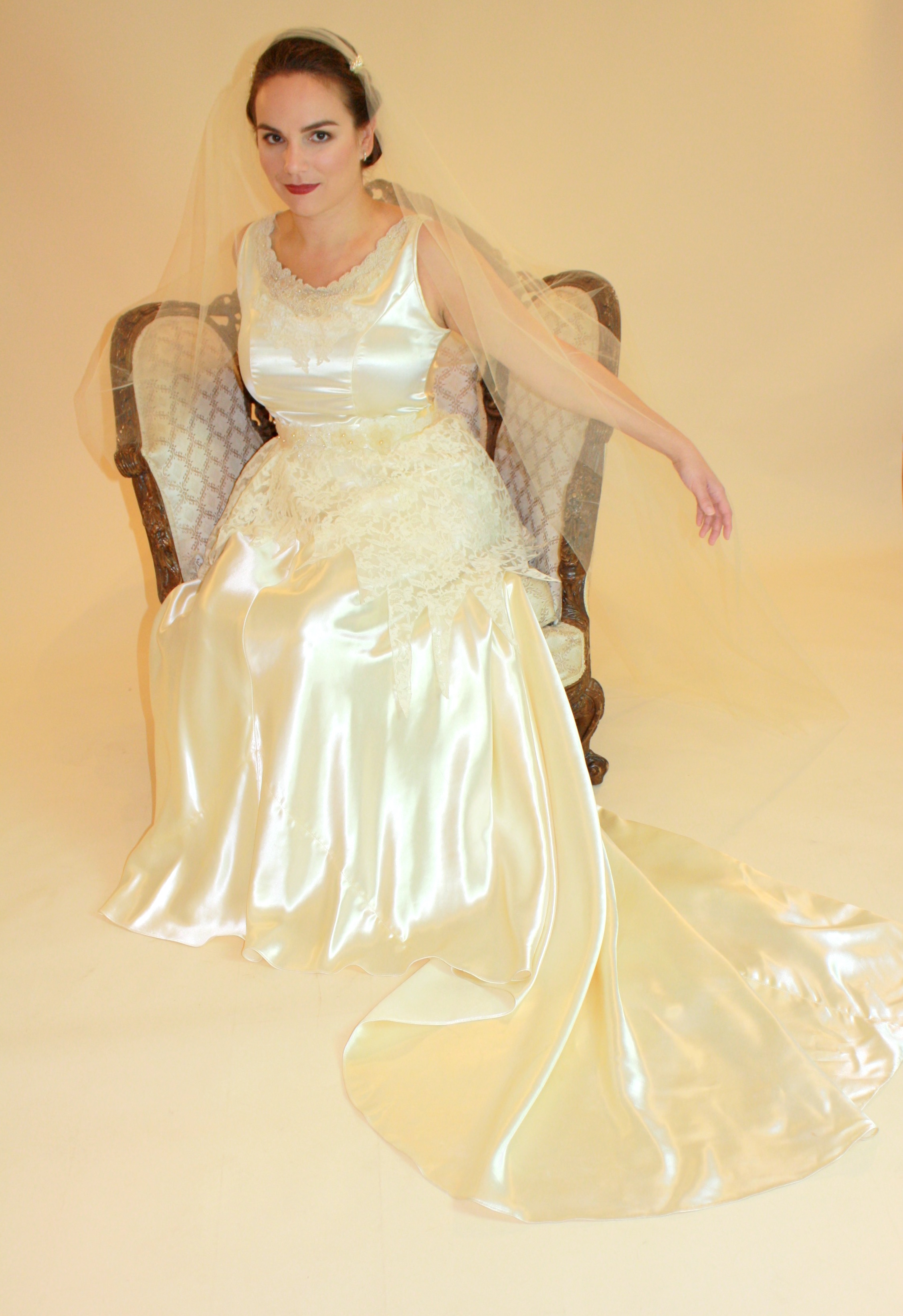 Elizabeth antique wedding gown alterations satin and lace janay a ...