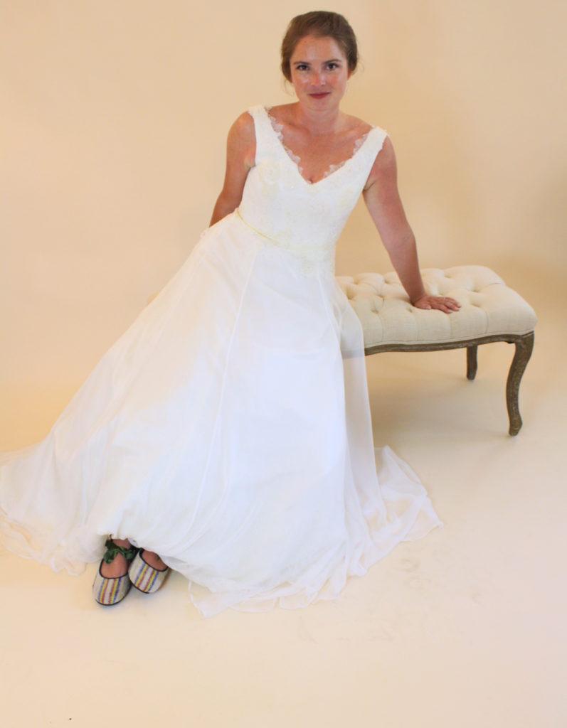 custom classic wedding gown handmade by janay a kansas city studio portrait