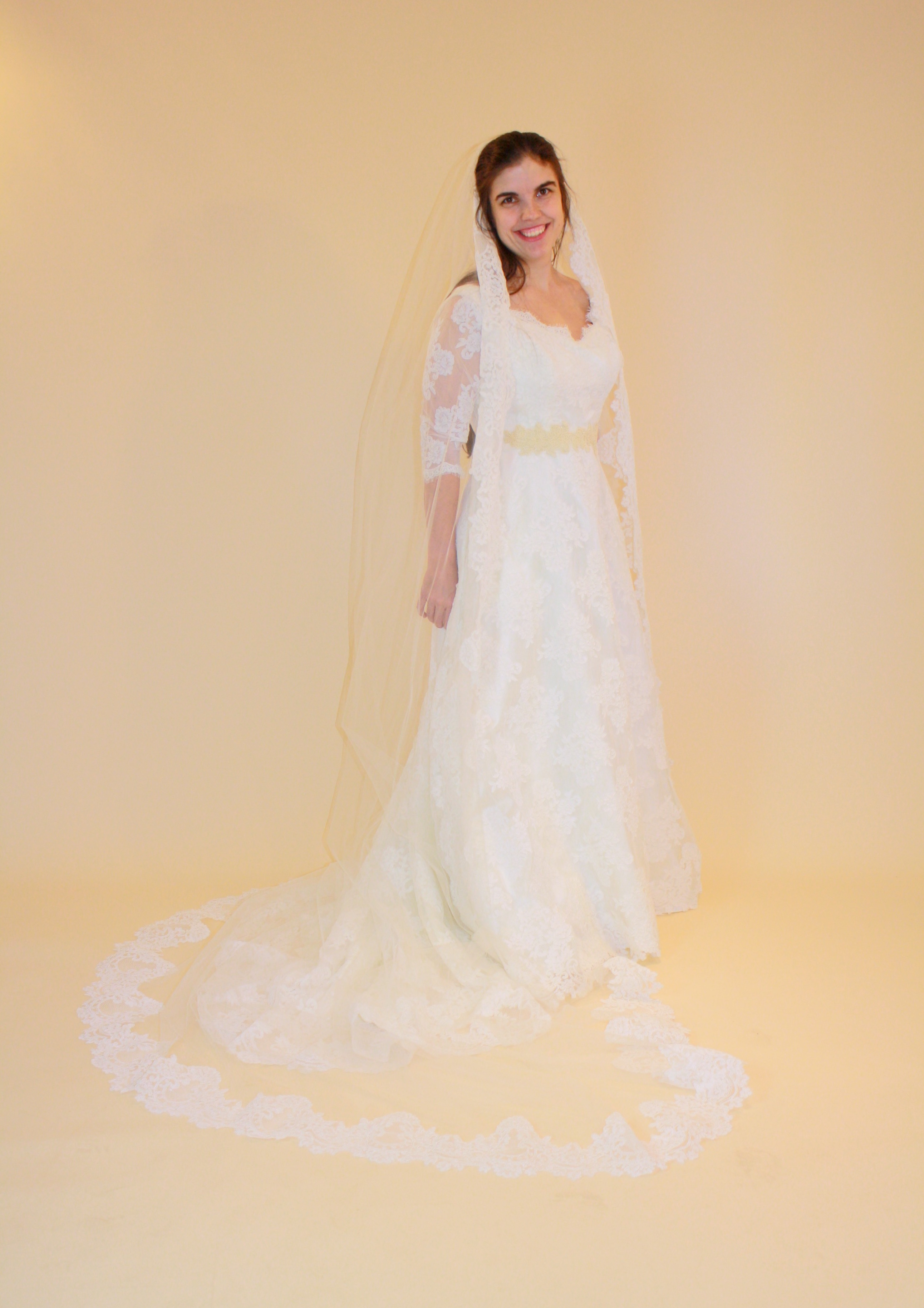 Christina gown with lace veil