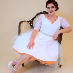 katie custom dress orange slip portrait
