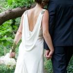 Emily's Custom Silk Draped Gown