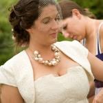 Anastasia's Cotton Eyelet Lace Wedding Dress and bolero