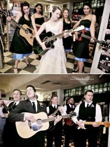 Bride and Bridesmaids Playing guitar