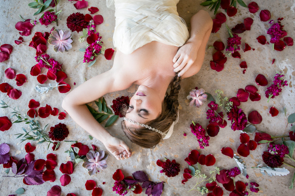 Eco Gown with Red Rose Petals