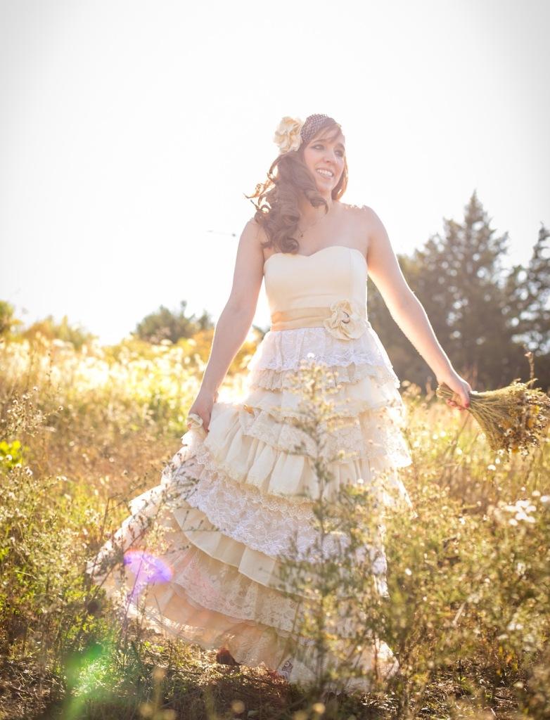 alexis custom wedding gown in field