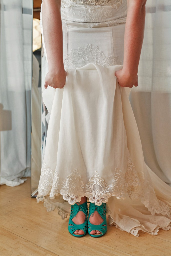 Carly teal wedding shoes champagne lace hem wedding dress kansas city designer Janay A