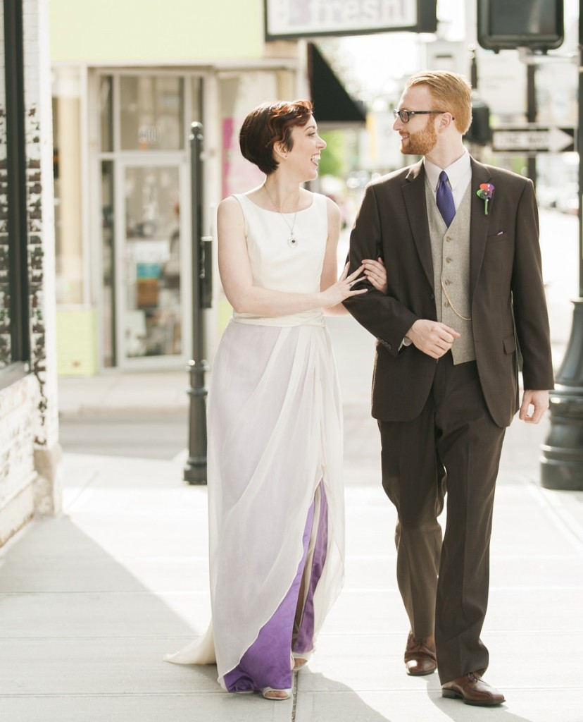 Couple in SPringfield, MO Wedding, purple ombre wedding gown