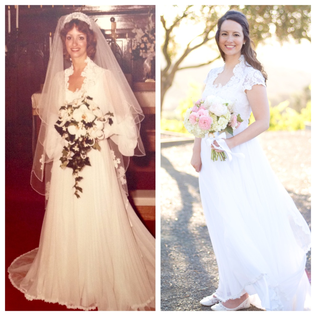 Lauren's Heirloom wedding gown before and after