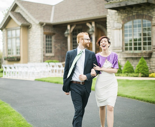 Lindsey with Purple Caplet for her springfield wedding, handmade by Janay A