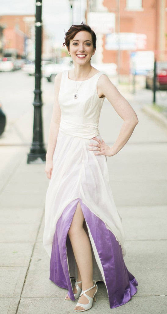 Wedding Dress Front Slit with Purple Ombre Skirt Gown