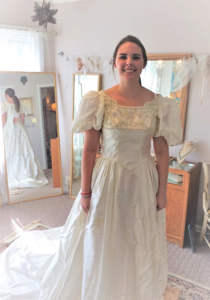 Sarah in original vintage gown before remaking